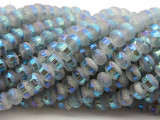 Ice Blue Metallic Stripe Crystal Glass Beads 8mm (CRY452)
