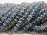 Gray Jeweltone Metallic Stripe Crystal Glass Beads 8mm (CRY454)