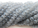 Pale Gray Metallic Stripe Crystal Glass Beads 8mm (CRY455)