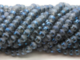 Slate Blue Metallic Stripe Crystal Glass Beads 8mm (CRY456)