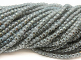 Gray Silver Metallic Stripe Crystal Glass Beads 4mm (CRY486)
