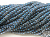 Slate Blue Metallic Stripe Crystal Glass Beads 4mm (CRY489)