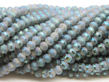 Pearlescent Gray Metallic Stripe Crystal Glass Beads 6mm (CRY490)