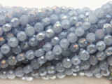 Pale Blue Flat Round Crystal Glass Beads 6mm (CRY506)