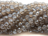 Smoky Gray Flat Round Crystal Glass Beads 6mm (CRY509)