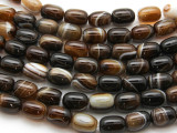 Banded Agate Barrel Gemstone Beads 14mm (GS4417)
