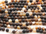 Matte Banded Agate Round Gemstone Beads 6mm (GS4422)