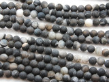 Matte Black Agate Round Gemstone Beads 6mm (GS4427)