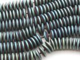 Matte Blue Electroplated Hematite Saucer Gemstone Beads 12mm (GS4440)