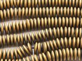 Matte Brass Electroplated Hematite Saucer Gemstone Beads 12mm (GS4444)