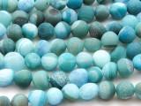 Matte Teal Agate Irregular Round Gemstone Beads 9-12mm (GS4446)