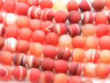 Matte Red-Orange Agate Round Gemstone Beads 10mm (GS4447)