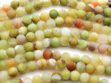 Matte Yellow-Green Agate Round Gemstone Beads 8mm (GS4452)