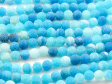 Matte Aqua Blue Crackle Agate Round Gemstone Beads 8mm (GS4454)