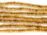 "Transparent Amber Yellow Glass Beads - 44"" strand (JV9065)"