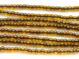 "Transparent Olive Green Glass Beads - 44"" strand (JV9066)"