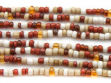 "Red Multi-Color Glass Beads - 44"" strand (JV9068)"