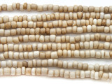 "White Antiqued Glass Beads - 44"" strand (JV9070)"