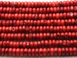 Red Bamboo Coral Rondelle Beads 8mm (CO555)