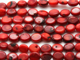 Red Bamboo Coral Oval Tabular Beads 12mm (CO556)