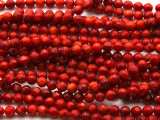 Red Bamboo Coral Faceted Round Beads 5mm (CO557)