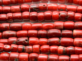Red Bamboo Coral Irregular Barrel Beads 7-12mm (CO562)