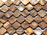 Brown Moroccan Motif Tabular Shell Beads 15mm (SH570)