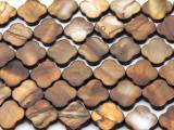 Brown Moroccan Motif Tabular Shell Beads 15mm (SH570)