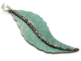 Copper (Oxidized) Wavy Feather Pendant 68mm (ME469)