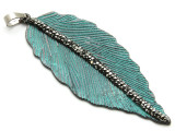 Copper (Oxidized) Wide Feather Pendant 72mm (ME470)