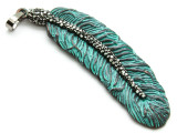 Copper (Oxidized) Rounded Feather Pendant 72mm (ME471)