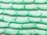 Light Turquoise Fish Carved Bone Beads 30mm (B1299)
