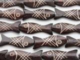 Dark Brown Fish Carved Bone Beads 45mm (B1307)