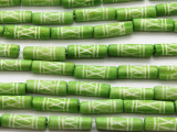 Lime Green Tube Carved Bone Beads 22mm (B1322)