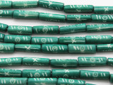 Teal Tube Carved Bone Beads 22mm (B1324)