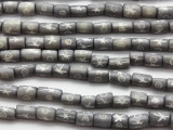 Gray Cylinder Carved Bone Beads 10mm (B1332)