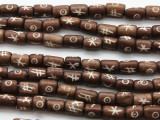 Brown Cylinder Carved Bone Beads 10mm (B1334)
