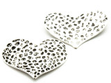Hammered Heart- Pewter Pendant 46mm (PW914)