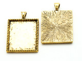 Bright Brass Blank Frame - Pewter Pendant 38mm (PW920)