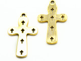 Bright Brass Cross - Pewter Pendant 36mm (PW922)