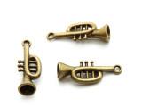 Brass Trumpet - Pewter Pendant 29mm (PW927)