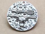 Bull & Arrow w/Rhinestones- Pewter Pendant 41mm (PW936)