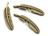 Brass Feather- Pewter Pendant 53mm (PW937)