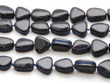 Blue Goldstone Irregular Wrapped Gemstone Beads 14-19mm (GS4478)