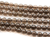 Smoky Quartz Faceted Round Gemstone Beads 10mm (GS4479)