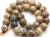 Etched Jade Round Gemstone Beads 13mm (GS4491)