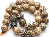 Etched Jade Round Gemstone Beads 13mm (GS4491)