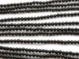 Jet Round Gemstone Beads 4mm (GS4496)