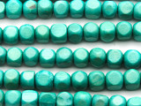 Turquoise Blue Tabular Wood Beads 10mm - Indonesia (WD956)