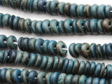Blue Coconut Wood Rondelle Beads 8mm - Indonesia (WD961)